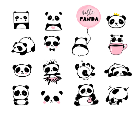 Cute Panda bear illustrations, collection of vector hand drawn elements, black and white icons Banque d'images