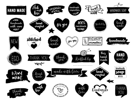 Hand drawn vector - handmade, craft, knitting and art labels, tags with lettering Vectores