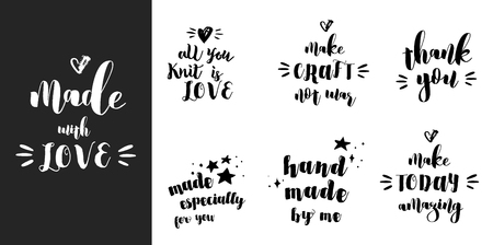 handmade soap: Crafters, makers and artists modern inspirational and motivational quotes, overlay lettering design Illustration