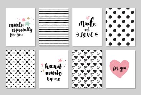 hechos a mano, artesanía, arte de tejer y tarjetas, etiquetas con letras, patrones de mano transparente dibujados Ilustración de vector