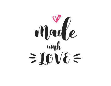 Made with love - crafters and artists modern inspirational and motivational quote, overlay lettering design, poster