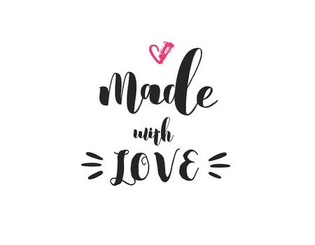 Hecho con amor - artesanos y artistas cita inspirada y de motivación, moderno diseño de letras de superposición, cartel