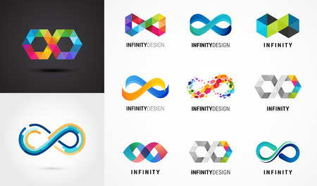 Colorful abstract infinity, endless symbols and icon collection Vectores