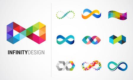 다채로운 추상 무한대, 끝없는 기호 및 아이콘 컬렉션