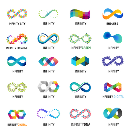 Colorful abstract infinity, endless symbols and icon collection Illustration