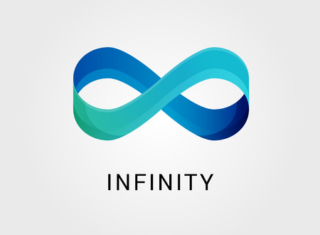 limitless: Blue abstract infinity, endless symbol and icon, modern clean style