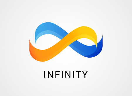 Colorful abstract infinity, endless symbol and icon, modern clean style