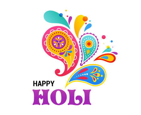religious backgrounds: Happy Holi, Indian holiday and festival poster, banner, colorful vector illustration Illustration