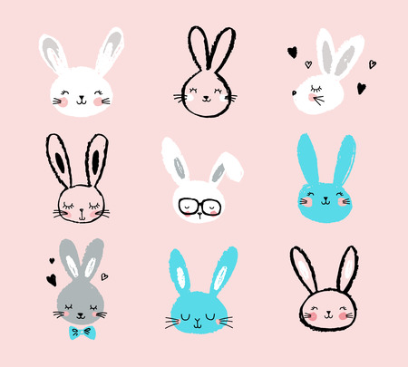 cute baby girls: Bunny, rabbits, cute characters set, for Easter, kids and baby t-shirts and greeting cards