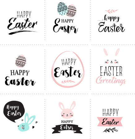 Happy Easter greeting cards set with cute pink, sweet hand drawn watercolor bunny, eggs, ribbons