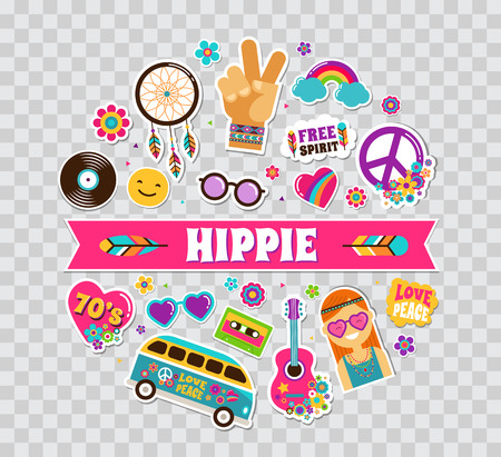 Hippie, bohemien poster, kaart ontwerp met stickers, pennen, kunst mode chic patches, pins, badges en iconen