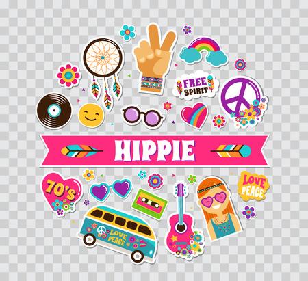 Hippie, cartel bohemio, diseño de la tarjeta con las etiquetas engomadas, pernos, remiendos, pernos, insignias e iconos elegantes de la moda del arte Foto de archivo - 71759197