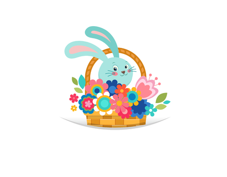 bunner: Happy Easter greeting card, bunny in basket, with flowers and eggs, poster, bunner, illustration