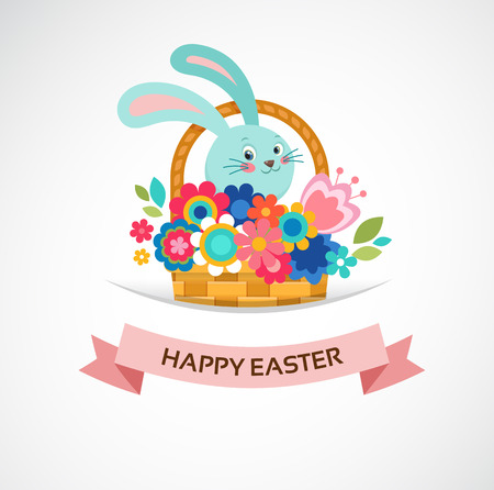 bunner: Happy Easter greeting card, basket with flowers and eggs, poster, bunner, illustration Illustration