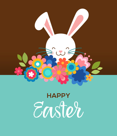 bocetos de personas: Happy Easter greeting card, poster, with cute, sweet bunny and flowers