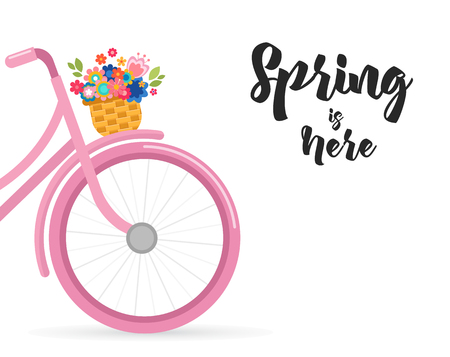 Happy Easter greeting card, poster, with cute, flowers in the bicycle basket Illustration
