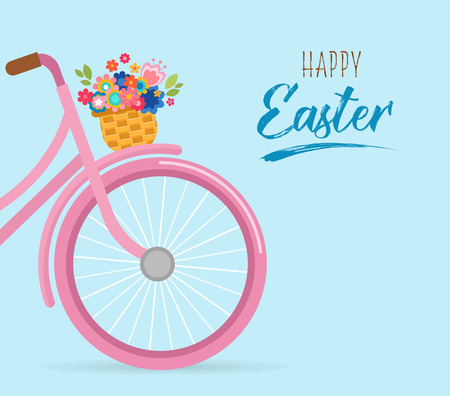 Feliz tarjeta de felicitación de Pascua, cartel, con lindo, flores en la cesta de la bicicleta