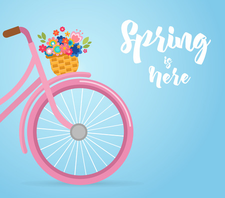temporary: Happy Easter greeting card, poster, with cute, flowers in the bicycle basket Illustration