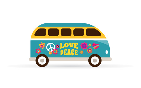 Hippie, bohemian blue van - love and peace