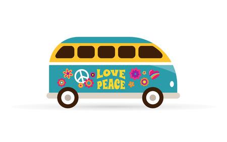 Hippie, bohemian blue van - love and peace