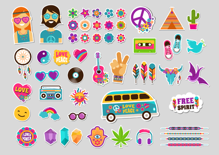 seventies: Hippie, bohemian design with icons set, stickers, pins, art fashion chic patches and badges