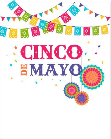 Cinco de mayo, fiesta mexicana bandera y el diseño de carteles con banderas, decoraciones, Foto de archivo - 74100626