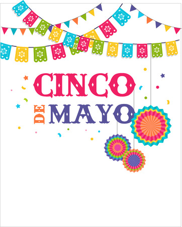 mexican culture: Cinco de mayo, Mexican fiesta banner and poster design with flags, decorations,