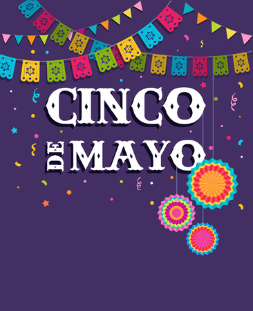 五月五日节,墨西哥节日横幅和海报设计的旗帜,装饰,