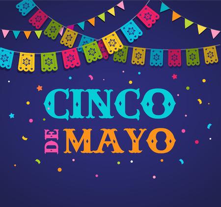 Cinco de Mayo,墨西哥嘉年华旗帜和海报设计与旗帜,装饰品,