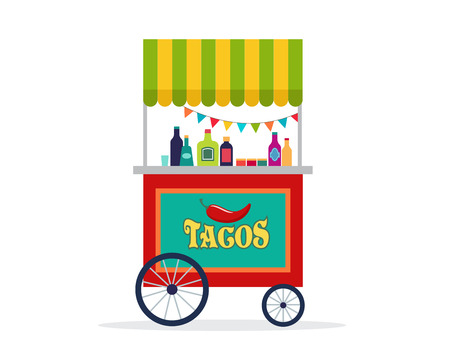 enchiladas: Mexican street food cart, flyer, poster, banner and background