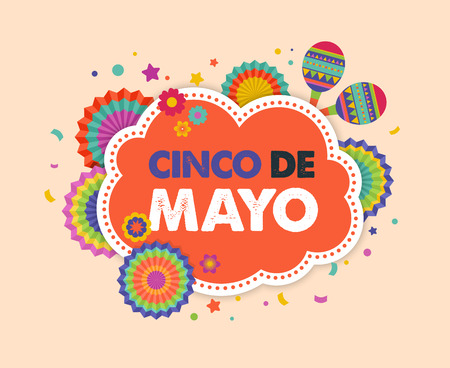 Cinco de mayo, Mexican fiesta banner and poster design with flags, decorations, 免版税图像 - 74106127