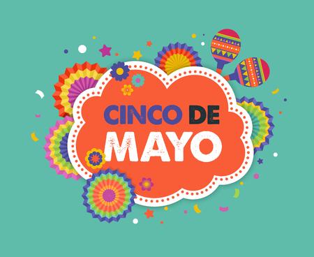 Cinco de mayo, fiesta mexicana bandera y el diseño de carteles con banderas, decoraciones,