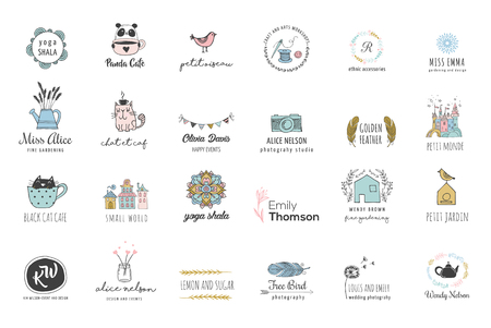 Hand drawn, simple and chic bohemian logo set Vettoriali