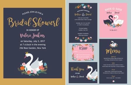 結婚式: 結婚式や誕生日の白鳥のイラスト、レタリング、花および要素の設定。