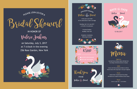 cérémonie mariage: Wedding and birthday set with swan illustrations, lettering, flowers and elements. Illustration