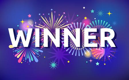 Winner, victory background, banner design, Fireworks and celebration background