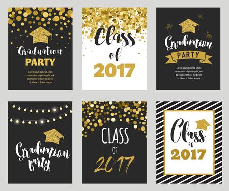 慶典: 2017年畢業班,派對邀請函 向量圖像