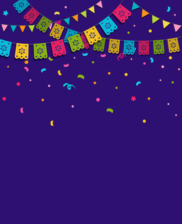 Mexican Fiesta background, banner and poster design with flags, decorations, greeting card Vectores