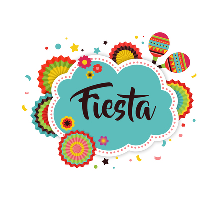 Mexican Fiesta background, banner and poster design with flags, decorations, greeting card Иллюстрация
