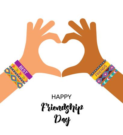 Mejores amigos para siempre, diseño feliz del cartel del día de la amistad, bandera, tarjeta de felicitación Ilustración de vector