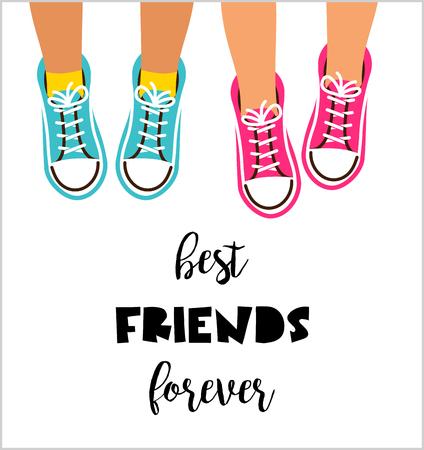 親友永遠に、幸せな友情日ポスター デザイン、バナー、グリーティング カード  イラスト・ベクター素材