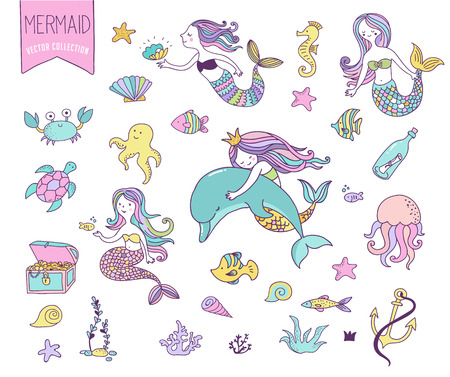 Under the sea - little mermaid, fishes, sea animals and starfish, vector collection 일러스트