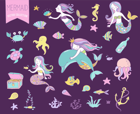 underwater fishes: Under the sea - little mermaid, fishes, sea animals and starfish, vector collection Illustration