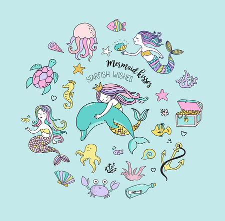 Under the sea - little mermaid, fishes, sea animals and starfish, vector collection Çizim