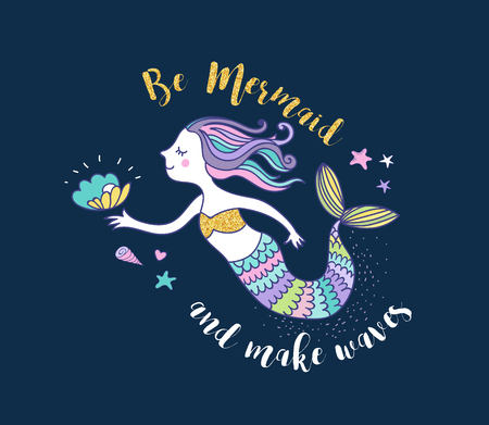 Under the sea - little mermaid, fishes, sea animals and starfish, vector collection Illustration