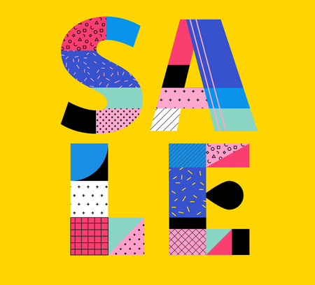 Sale Poster with memphis colorful geometric design, Summer sale sign and banner Illustration