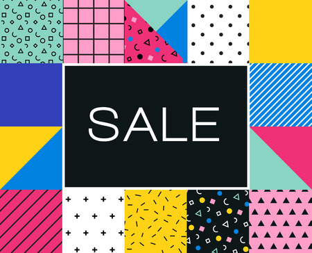 Sale Poster with memphis colorful geometric design, pattern, Summer sale sign and banner