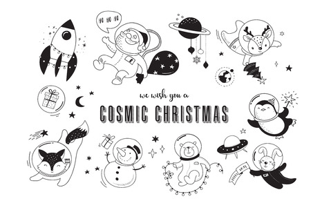 Merry Christmas - Cosmic Xmas, space winter illustrations, Santa, Penguin, Deer, Fox and space ship 向量圖像