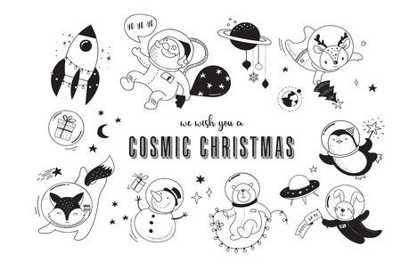 Merry Christmas - Cosmic Xmas, space winter illustrations, Santa, Penguin, Deer, Fox and space ship Illustration