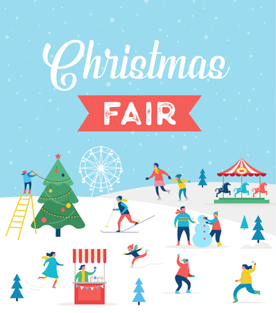 Winter sport scene, Christmas street event, festival and fair.